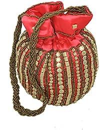 Kuber Industries Ethnic Work Silk Potli Bag, Pink