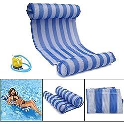 Hamac Gonflable, OUTERDO Lit Gonflable pour Piscine Bouée et Matela Gonflable Chaise Longue Gonflable Piscine de Luxe pour L'été (Bleu2)