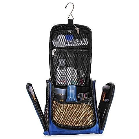 Petite trousse de toilette premium, ultra spacieuse | Kit de voyage compact avec crochet, pour hommes/femmes | Sac de toilette résistant à l'eau (bleu)