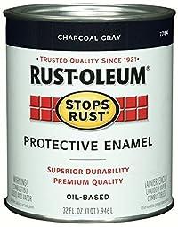 Rust-Oleum 7784502 Stops Rust, 32 oz. Quart, Gloss Charcoal Gray- 2 Pack