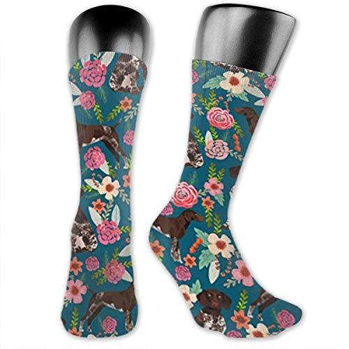 German Shorthaired Pointer Floral Dog Compression Socks Crew Socks Women & Men-Best Athletic & Medical Running Flight Travel Pregnant Knee high Socks -