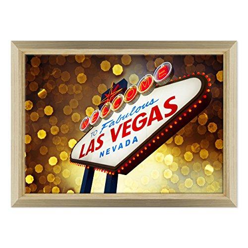 Bild auf Leinwand Canvas-Gerahmt-fertig zum Aufhängen-Las Vegas-Nevada-Casino '-USA Amerika Dimensione: 70x100cm E - Colore Legno Naturale Design