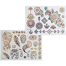 XL colores multicolor Metallic Tattoo SC0206Flash Diseño Mandala Elefante Henna Tatuaje Oro Rosa Azul Lila Flores tatuaje adhesivo de XL arco