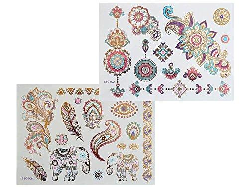 Tatouage métallique coloré - Feuilles XL - SC02 06 - Flash - Motifs de mandala, éléphant, henné, fleurs de couleur dorée, rose, bleue et violette