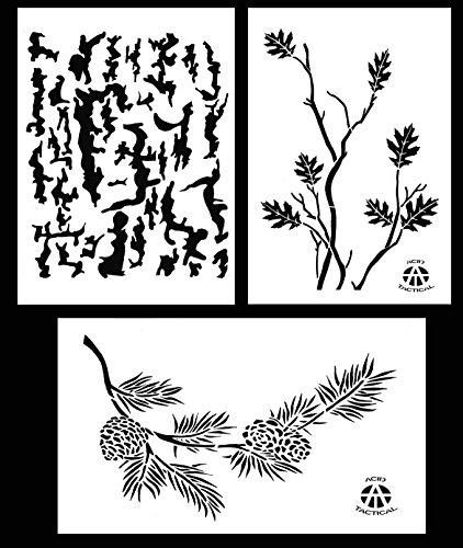 Acid Tactical 3pezzi-23x 35cm camouflage Airbrush stencil per vernice spray auto barca Quad (albero corteccia di quercia, ramo, ramo di pino)