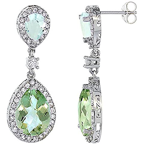 Con ametista, oro bianco 14 k con acquamarina & &-Orecchini a goccia con zaffiro e diamanti, colore: bianco