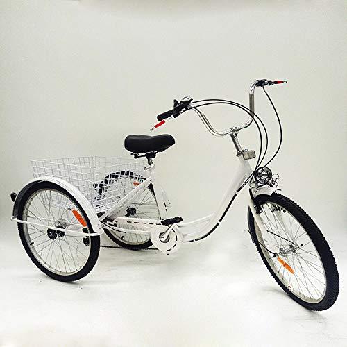 """OU BEST CHOOSE 6 Gänge Dreirad für Erwachsene 24\"""" ErwachsenendreiradFahrrad + Korb, Fahrräder Bike für einzigartiges Geschenk (weiß)"""