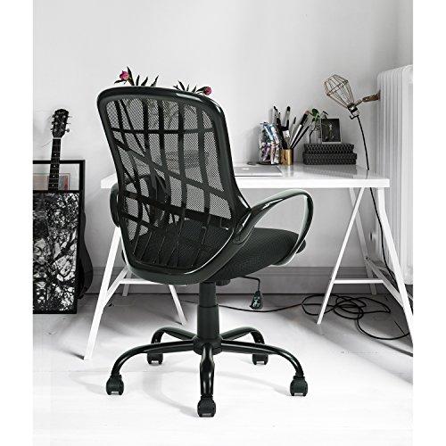Homy Casa Inc. homycasa mid-back Aufgabe Bürostuhl, Drehstuhl mit spezielle Design Rücken, hoch verstellbar Büro Stühle, schwarz