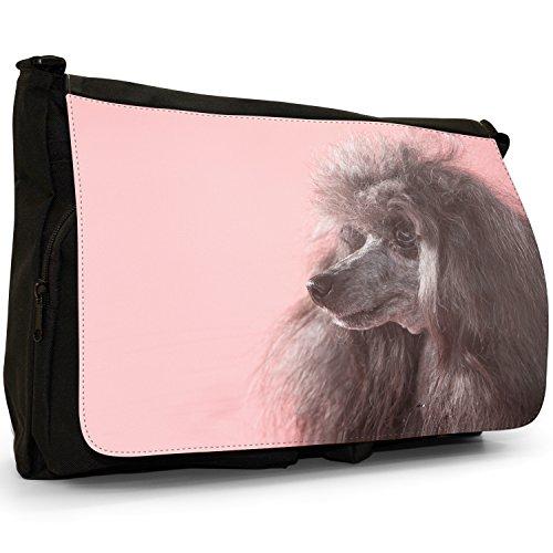 Fancy A Bag Borsa Messenger nero Black Poodle Dog Poodle Dog With Pink Background