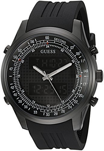 GUESS Men's U0862G2 Trendy Black Stainless Steel Watch with Digital Dial and Black Strap Buckle