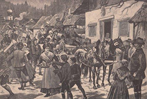 Steiermark - Faschingszug in der Steiermark. Schöne Ansicht in einem Ort. Pferde ziehen einen Wagen auf dem kostümierte Menschen stehen und den Menschen zuprosten. Paare tanzen zur Musik, im Vordergrund verteilt eine Frau Krapfen an Kinder. [Grafik]