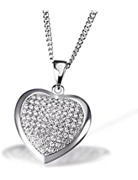 Goldmaid Damen-Halskette Herz 925 Sterlingsilber 85 weiße Zirkonia Herzkette Schmuck