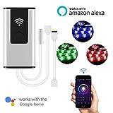 Wifi LED Controller,Teepao LED Dimmerschalter Funktioniert mit Alexa und Google Home, unterstützt IOS Android Smartphone App und Voice Controlled für alle DC 12V / 24V LED-Leuchten - RGB