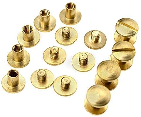 10 Sets 6 x 4.5mm Leather Craft Flat Belt Screw Brass Solid Rivets Stud Head