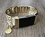 Gold-Band, für Fitbit Laden 2 Fitness Tracker Blumen Design handgefertigt Accessory Jewelry Fitbit Laden 2 Armband mit Waage Sternzeichen Constellation Charm verstellbare Größe Armreif