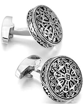 MOWOM Silber Schwarz 2 PCS Rhodium Rhodiniert Manschettenknöpfe Keltisch Kruzifix Kreuz Hemd Hochzeit Business