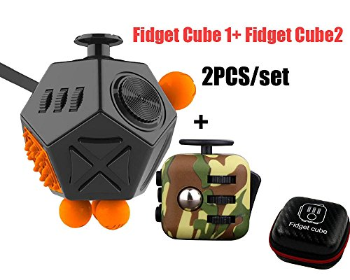 High-Quality Fashion Fidget Cube 2 Anxiety Stress Relief Focus 12 sides with Fidget Cube 1 2PCS/SETS (Group 7)