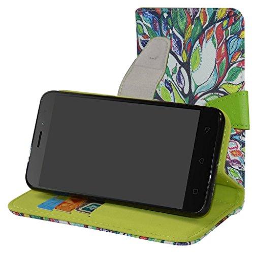 Lenovo K6 Custodia,Mama Mouth Portafoglio custodia in PU di cuoio pelle con supporto carte di credito in Piedi caso Case per Lenovo K6 Smartphone,Love Tree