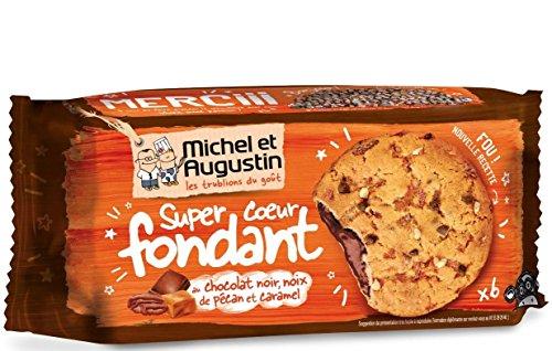 Michel et Augustin Cookies Cœur Fondant Pécan Caramel Chocolat Noir 180g - Lot de 3