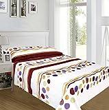 ForenTex - Juegos de sábanas, (AX-4022), Lunares Granate, cama 150 cm, con tacto seda de sedalina, nacarina, de 250 gr/m2, ultra suaves, exclusivas.