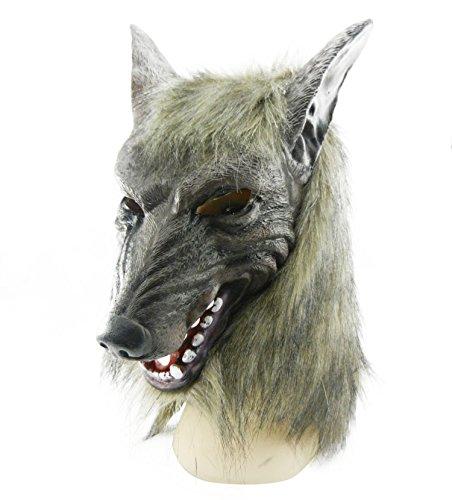 thematys Böser Wolf mit Haaren Maske - perfekt für Fasching, Karneval & Halloween - Kostüm für Erwachsene - Latex, Unisex Einheitsgröße Wolf-latex-maske