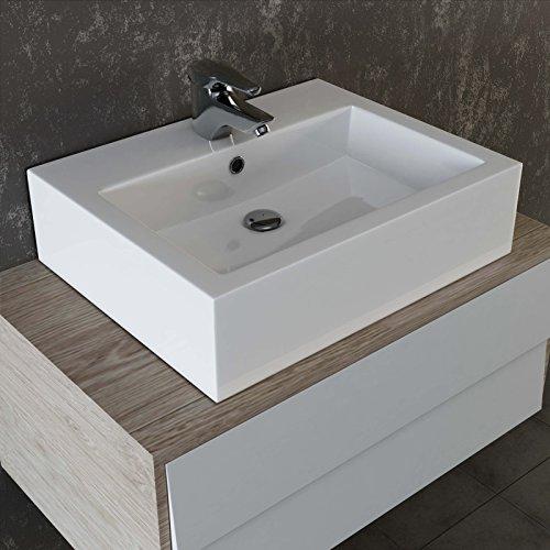 VILSTEIN© Keramik Waschbecken Aufsatz-Waschbecken Hängewaschbecken Waschtisch rechteckig eckig 59 cm