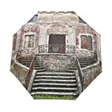 DUILLY Ombrello automatico apri/chiudi,Vaso da fiori dell'otturatore di legno della vecchia finestra rustica sulla parete di pietra medievale, Pieghevole,Antivento,Leggero Ombrello Pieghevole
