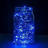 Luces en cuerda, Ryham 16.4 pies/5M 50 mini fiesta de Navidad decorativo LED luces de la secuencia estrellada de alambre para la boda vacacional Pub Club, 3xAA baterías Powered,azul
