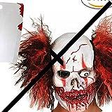 Máscara Payaso Asesino Con Cabello, Mascara Halloween Terror de Látex, Craneo Esqueleto Diablo Demonio Zombie, Traje De Lujo Con Cuchilla de Carnicero Espeluznante Para Disfraz Adulto de Fiesta Horror