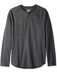 Essentiels Amazon T-Shirt Slim Col Tunisien Manches Longues Homme