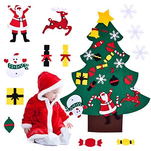 Elinker albero di natale in feltro per bambini, kit di ornamenti per albero di natale da 3,5 piedi per bambini regali di natale decorazioni natalizie per porta a parete di capodanno
