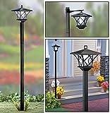 Solalite� 1.5m Tall Outdoor Solar Powered Black Garden Lamp Post Light