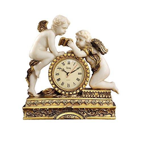 Design Toscano KY72570 Orologio Cherubini di Château Carbonne, Avorio, 10x24x26.5 cm
