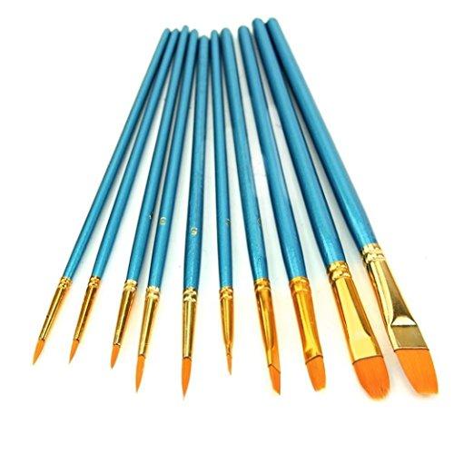 Hosaire 10 Stück Pinsel Mode Wasserfarben Pinsel,Blau Paintbrush