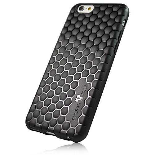 PULSARplus Coque iPhone 7 Black Carbon Design Etui TPU noir - Housse de protection mince flexible pour original Apple iPhone 7 Hexagon