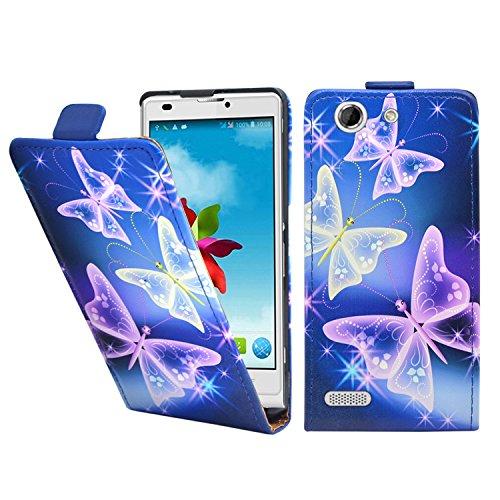 Azul Mariposa Pu Flip Funda Cuero Case Para El ZTE Blade L2