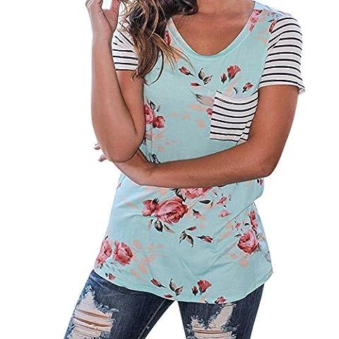 Rawdah Women Stripe Blouse Short Sleeve Flower Printed T-shirt Tops