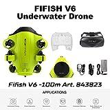 Fifish Drone Sottomarino Fotocamera V6 QYSEA Grandangolare 162˚ 6 Motion Directions 4K UHD 12 MP Cavo 100m; profondità 100m VR Occhiali 64 GB Registrazione Video Pesca Mondo Sottomarino 843823