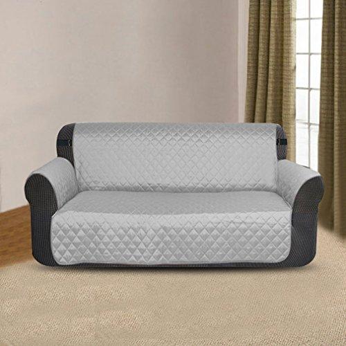Newmeil Sofaschoner Sofabezug 2 Sitzer Wasserdicht Anti-Rutsch Schwarz/Grau/Koffee (Grau)