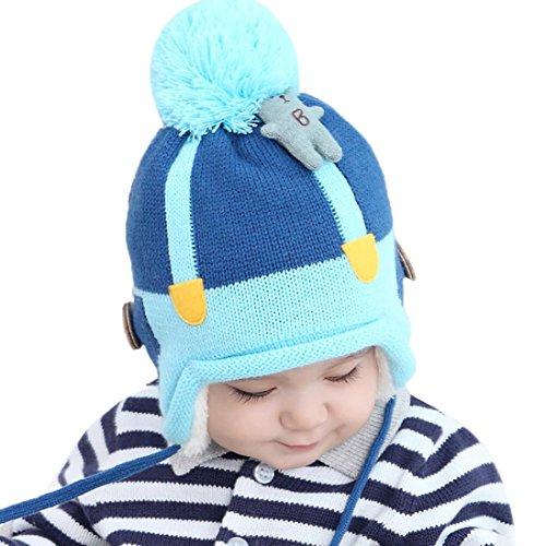 URSING Baby Jungen Mädchen Beanie Bär Baumwolle Hut Kinder Drucken Stricken Hüte Haarball Pelzkugel gestrickt Winter Warme Mütze Cap 1-3 Jahre alt (B)