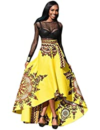 f645ba26b5ad LONUPAZZ Maxi Robe De Soirée Africaine Manche Longue Femme été Bohème  Imprimée Robe De Plage