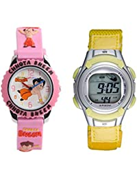 Fantasy World Digital Yellow & Pink Color Watch Combo