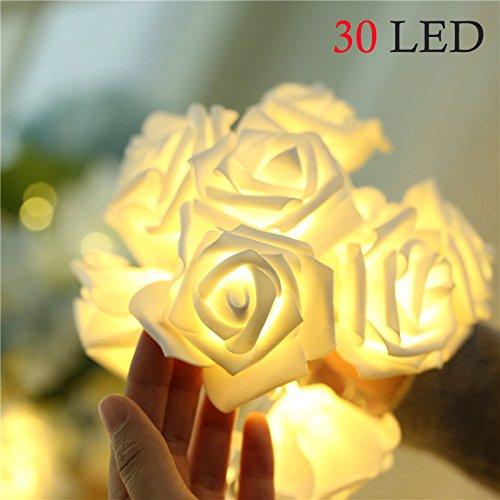 Rosen-Lichterkette, 3 m, 30 LEDs, batteriebetrieben, romantisch, für Hochzeit, Garten, Party, Halloween, Weihnachten, Innen- und Außendekoration, Warmweiß