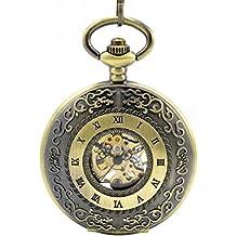 Infinite U Retro Esqueleto Hueco Tapa Números Romanos Reloj de Bolsillo Mecánico Colgante Collar