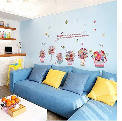 Newberli Handgemalte Blume Körbe Schmetterling Aufkleber Wandaufkleber Pvc Diy Wohnzimmer Schlafzimmer Home Kunst Tapete Zimmer Haus Poster