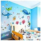 Kangrunmy Coloré Dessin Stickers Muraux 1 Pc Poisson Requin OcéAn Vinyle Plastique Autocollant Mural Enfants Chambre DéCor Meubles Stickerswalls Pour Windows Miroir De Chambre à Coucher Salon