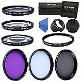 K&F Concept - 55mm Filtro Kit 7 Piezas UV CPL FLD + Close-up+1+2+4+10, Filtro Polarizador UV Filtro para Sony A37 A55 A57 A65 A77 A100 DSLR Cámaras + Paño de Liempieza + Parasol + Centro Pinch Tapa del objetivo + Estuche para Filtro