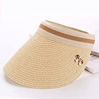 LTQ&qing Gorra de sombrero de paja vac¨ªa gorra de visera femenina sombrero , A , m (56-58cm)