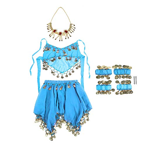 tanz Kostüm Set Kinder Halloween Tanz Kostüm Outfit Indian Dance Performance Kleidung Belly Dance Kinder Kostüm Set Top + Rock mit Kopfschleier(Hellblau) ()