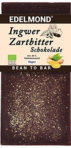 Edelmond® Bio 60 % Zartbitter Schokolade mit frischem Ingwer ✓ Grand Cru Edelbohnen ✓ Nur 3 Zutaten: Edel-Kakao, Ingwer und Rohrzucker ✓ Laktosefrei ✓ Vegan & Fair-Trade